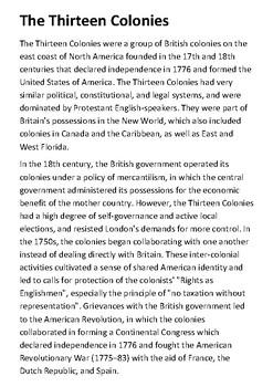 The Thirteen Colonies Handout