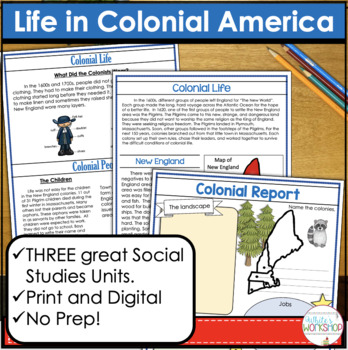 The Thirteen Colonies: Informational Text and Activities