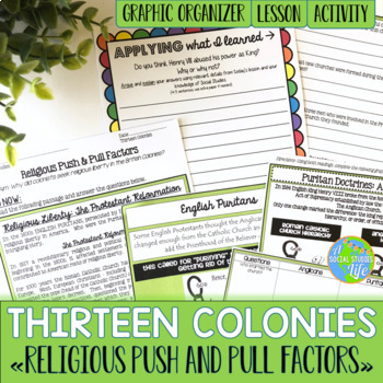 Thirteen Colonies - Religious Push and Pull Factors, Anglicans and Puritans