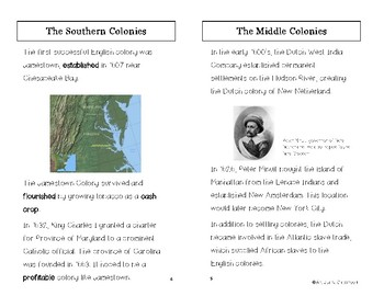 The Thirteen Colonies Minibook for ELL Students
