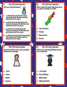 The Thirteen Colonies Multiple Choice Task Cards
