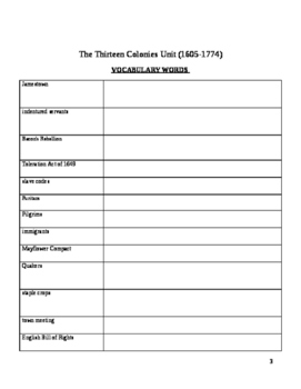 The Thirteen Colonies Unit Plan/Organizer for Students
