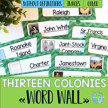Thirteen Colonies Word Wall without definitions