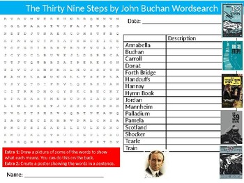 The Thirty Nine Steps Wordsearch Puzzle Sheet Keywords English Literature Novel