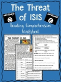 The Threat of ISIS Reading Comprehension Worksheet, Terrorism, Syria, Iraq