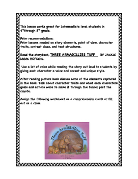 The Three Armadillies Tuff Story book and questions