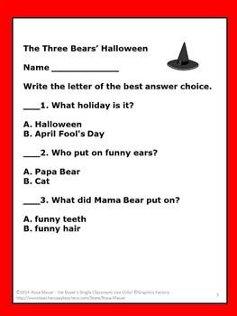 The Three Bears Halloween Reading Task Cards Book Unit