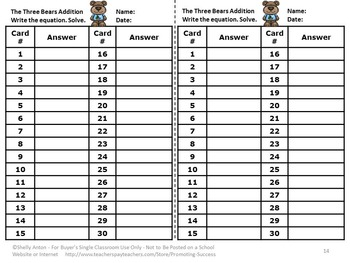 Goldilocks and the Three Bears Math Kindergarten Addition with Pictures