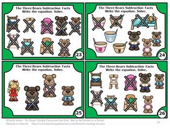 Goldilocks and the Three Bears Math Kindergarten Subtraction with Pictures