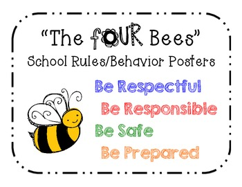 """The FOUR Bees"" School Rules/Behavior Posters"