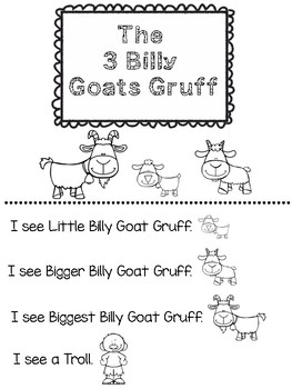The Three Billy Goats Gruff...Adapted Book, Emergent Reader, Learning Activities