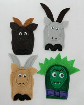 The Three Billy Goats Gruff Finger Puppet Set (3 Goats and a Troll)