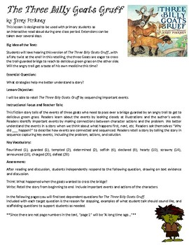 The Three Billy Goats Gruff by Jerry Pinkney Interactive Read Aloud Lesson Plan