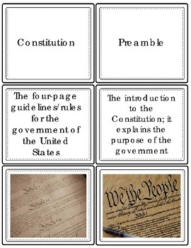 The Three Branches of Government & Constitution Vocabulary Task Cards