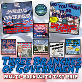 The Three Branches of Government Interactive Activities Muti-Pack w/ Test Prep