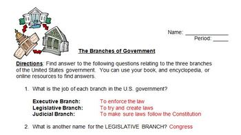 The Three Branches of Government Treasure Hunt Activity