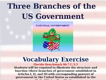 The Three Branches of Government & Unit Vocabulary Exercise