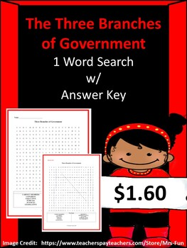 The Three Branches of Government Word Search w/ Answer Key