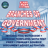 The Three Branches of Government Interactive Notebook Activities Bundle