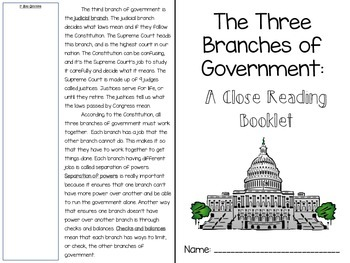 The Three Branches of National Government Close Reading Booklet and Activity