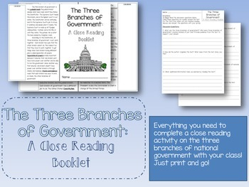 The Three Branches of National Government Close Reading Bo