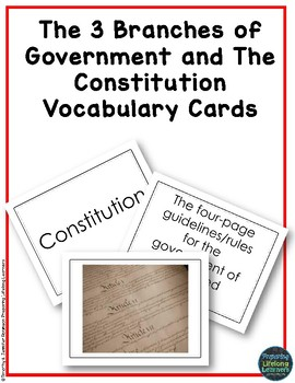 The Three Branches of the Government & Constitution Vocabulary Task Cards