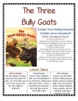 The Three Bully Goats Reading Comprehension (CCSS) Bullying Unit
