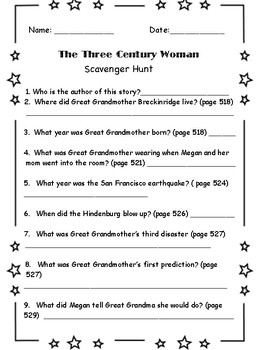 """The Three Century Woman"" Scavenger Hunt ( 5th grade)"