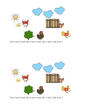 3 Hens, the 2 Foxes, and the 1 Seed color Readers  - Red Hen, Hattie, Rosie