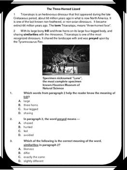 The Three-Horned Lizard Context Clue Passage
