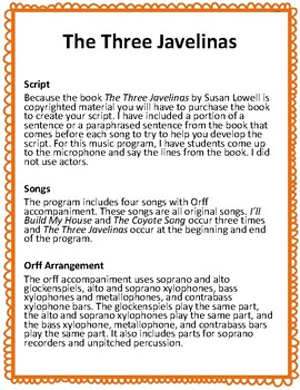 The Three Javelinas: A Musical for Voice, Recorder (optional), and Orff