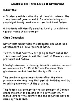 The Three Levels of Government - Grade 4 Social Studies