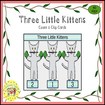 The Three Little Kittens Clip Task Cards