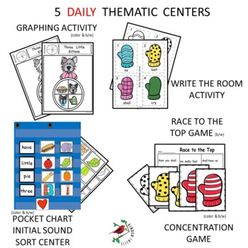 The Three Little Kittens Nursery Rhyme Literacy Centers for Emergent Readers