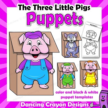 photograph relating to Three Little Pigs Printable named 3 Tiny Pigs Craft Activitiy Printable Puppet Templates