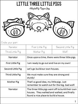 The Three Little Pigs Readers' Theater Play & Activities
