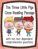 The Three Little Pigs Close Reading Passage and Questions