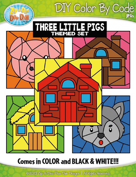 The Three Little Pigs Color By Code Clipart {Zip-A-Dee-Doo-Dah Designs}