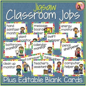 Classroom Jobs - Jigsaw borders: 44 Job Cards plus editable cards