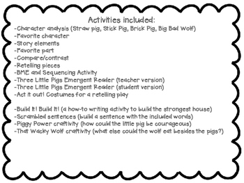 The Three Little Pigs (Emergent Story Unit w/CCSS)