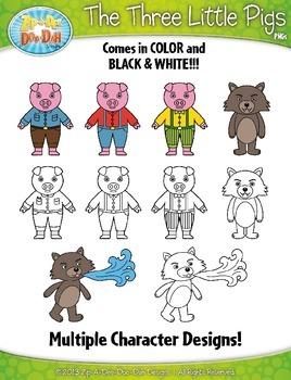 The Three Little Pigs Fairy Tale Clipart {Zip-A-Dee-Doo-Dah Designs}