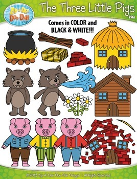 The Three Little Pigs Fairy Tale Clip Art Set — Over 55 Graphics!