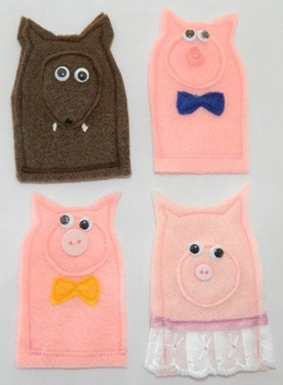The Three Little Pigs Finger Puppet Set (Three Pigs and a Wolf)