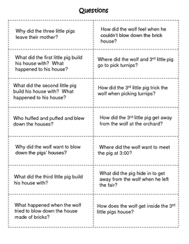 The Three Little Pigs Language and Literacy Packet and  Activities