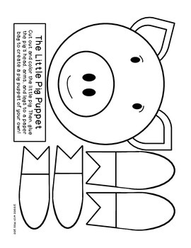 pig puppet template - the three little pigs literacy activities by as told by