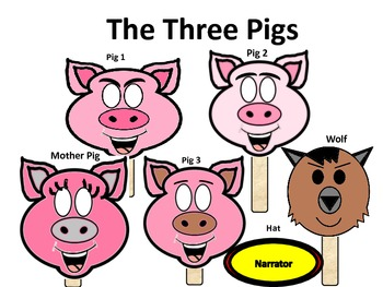 The Three Little Pigs Masks and Puppet Play Script
