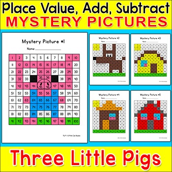 Color By Number - The Three Little Pigs Hundreds Chart Mystery