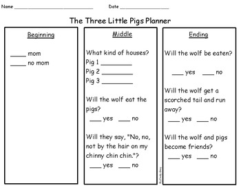 The Three Little Pigs Planner