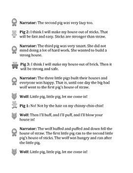 The Three Little Pigs Reader's Theater Script