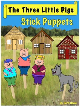The Three Little Pigs Stick Puppets - FREEBIE